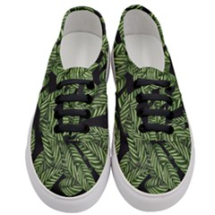 Tropical Leaves On Black Women s Classic Low Top Sneakers