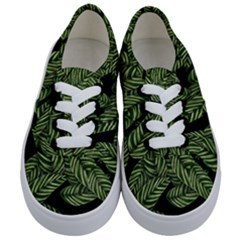 Tropical Leaves On Black Kids  Classic Low Top Sneakers