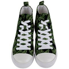 Tropical Leaves On Black Women s Mid Top Canvas Sneakers