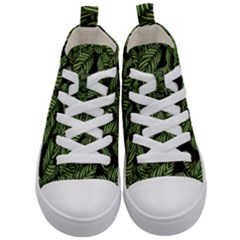 Tropical Leaves On Black Kid s Mid Top Canvas Sneakers