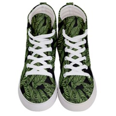 Tropical Leaves On Black Men s Hi Top Skate Sneakers