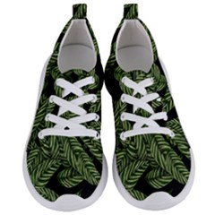 Tropical Leaves On Black Women s Lightweight Sports Shoes