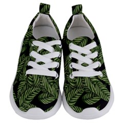 Tropical Leaves On Black Kids  Lightweight Sports Shoes