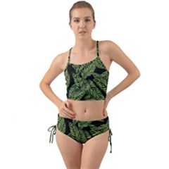 Tropical Leaves On Black Mini Tank Bikini Set
