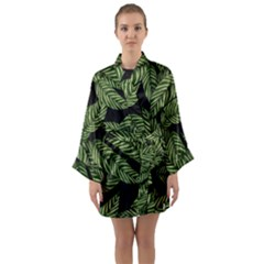 Tropical Leaves On Black Long Sleeve Kimono Robe