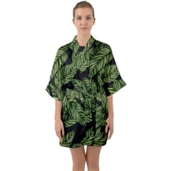Tropical Leaves On Black Quarter Sleeve Kimono Robe
