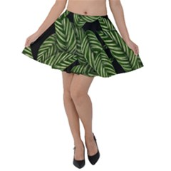Tropical Leaves On Black Velvet Skater Skirt