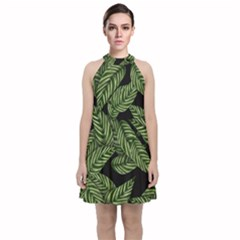 Tropical Leaves On Black Velvet Halter Neckline Dress