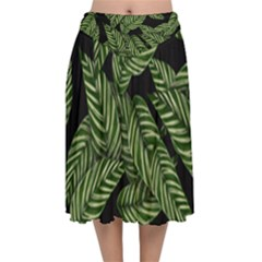 Tropical Leaves On Black Velvet Flared Midi Skirt