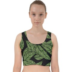 Tropical Leaves On Black Velvet Racer Back Crop Top