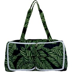 Tropical Leaves On Black Multi Function Bag