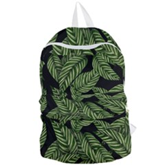 Tropical Leaves On Black Foldable Lightweight Backpack