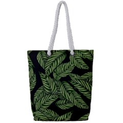 Tropical Leaves On Black Full Print Rope Handle Tote (small)