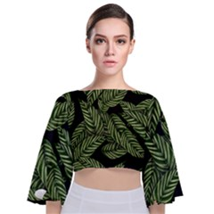 Tropical Leaves On Black Tie Back Butterfly Sleeve Chiffon Top