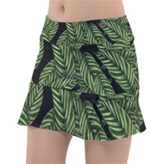 Tropical Leaves On Black Tennis Skirt