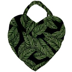 Tropical Leaves On Black Giant Heart Shaped Tote