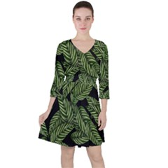 Tropical Leaves On Black Ruffle Dress