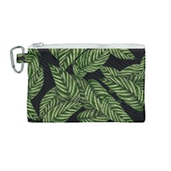 Tropical Leaves On Black Canvas Cosmetic Bag (medium)