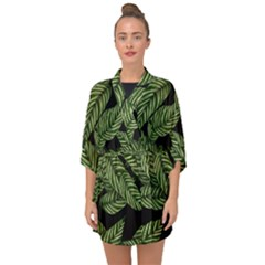 Tropical Leaves On Black Half Sleeve Chiffon Kimono