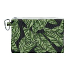 Tropical Leaves On Black Canvas Cosmetic Bag (large)