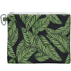 Tropical Leaves On Black Canvas Cosmetic Bag (xxxl)