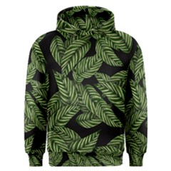 Tropical Leaves On Black Men s Overhead Hoodie