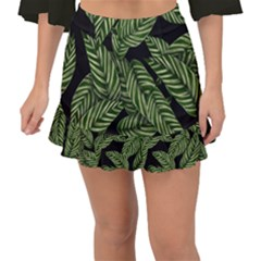 Tropical Leaves On Black Fishtail Mini Chiffon Skirt