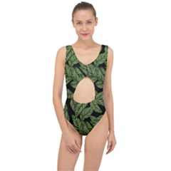 Tropical Leaves On Black Center Cut Out Swimsuit