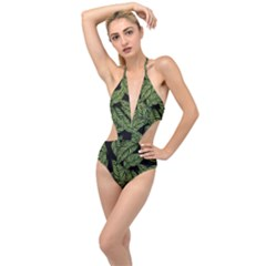 Tropical Leaves On Black Plunging Cut Out Swimsuit