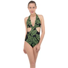 Tropical Leaves On Black Halter Front Plunge Swimsuit