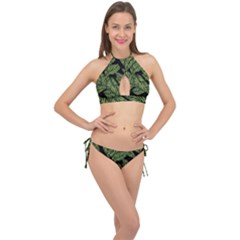Tropical Leaves On Black Cross Front Halter Bikini Set