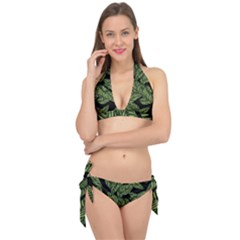 Tropical Leaves On Black Tie It Up Bikini Set