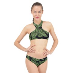 Tropical Leaves On Black High Neck Bikini Set