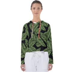 Tropical Leaves On Black Women s Slouchy Sweat