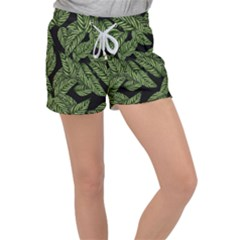 Tropical Leaves On Black Women s Velour Lounge Shorts