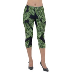 Tropical Leaves On Black Lightweight Velour Capri Leggings