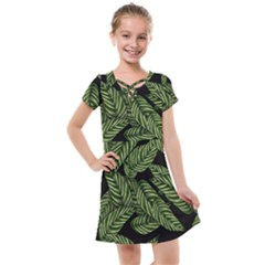 Tropical Leaves On Black Kids  Cross Web Dress