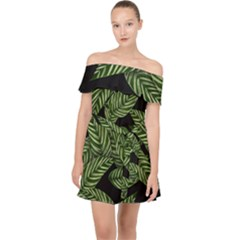 Tropical Leaves On Black Off Shoulder Chiffon Dress
