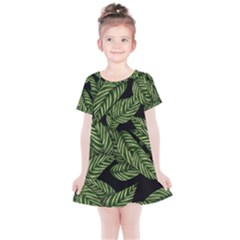 Tropical Leaves On Black Kids  Simple Cotton Dress