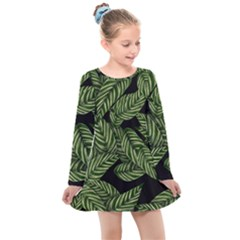 Tropical Leaves On Black Kids  Long Sleeve Dress