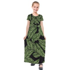 Tropical Leaves On Black Kids  Short Sleeve Maxi Dress