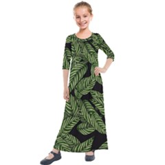 Tropical Leaves On Black Kids  Quarter Sleeve Maxi Dress
