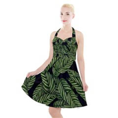 Tropical Leaves On Black Halter Party Swing Dress