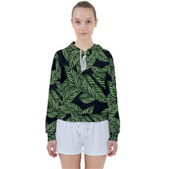 Tropical Leaves On Black Women s Tie Up Sweat by vintage2030