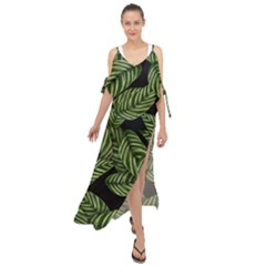 Tropical Leaves On Black Maxi Chiffon Cover Up Dress