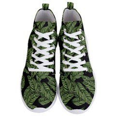 Tropical Leaves On Black Men s Lightweight High Top Sneakers