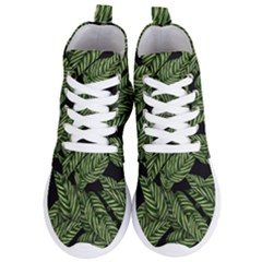 Tropical Leaves On Black Women s Lightweight High Top Sneakers