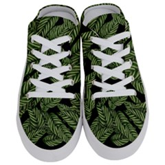 Tropical Leaves On Black Half Slippers