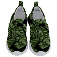 Tropical Leaves On Black Velcro Strap Shoes