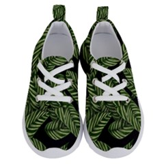 Tropical Leaves On Black Running Shoes